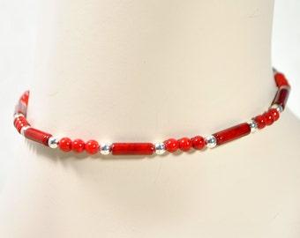Red Choker Beaded Choker Red Choker Necklace Womens Collar