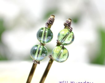 Green Bobbies Beaded Bobby Pins Green Hair Beads Handmade Bobby Pin Green Bobby Pins for Sale