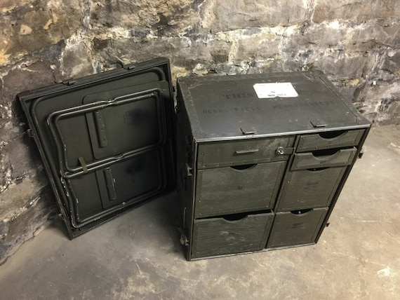 Vintage Us Military Mobile Field Desk Trunk By