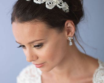 Pearl Wedding Headband, Lace Bridal Headband, Rhinestone Wedding Headband, Pearl and Lace Headband, Rhinestone and Pearl Headband ~TI-3165