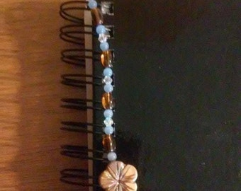 Blue, Clear, and Brown Flower Spiral Notebook Bookmark