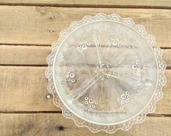Heavy Divided Glass Footed Nut Dish with Scalloped Edges