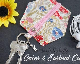 honeycomb earbud case, headphone case, headphone pouch, headphone case keychain, unique gift , gadget case , small wallet