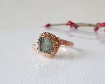 Fluorite ring / Electroformed ring / raw stone ring / Copper jewelry / Natural crystal ring / rhombus shape / Big size ring