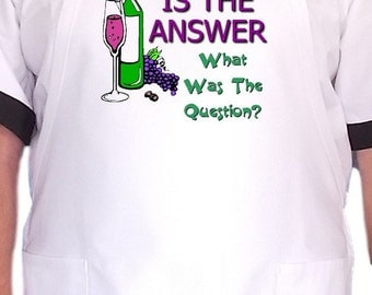 Funny Sayings KItchen Apron Wine Is The Answer Chef Aprons