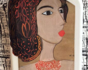 Her name is Amina/Tile/ Handmade Mixed Medium Plaster Tile/ Modern Art/ Painting/ Portrait / Orginal / Collectibles / Mix Media / Collage