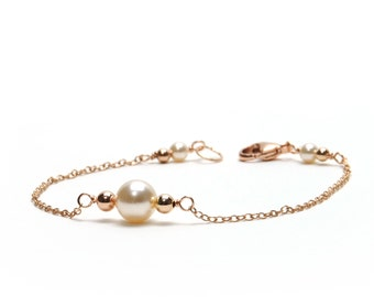 Pearl and Rose Gold Bracelet - Cream Rose Pearl and Rose Gold Filled Chain & Link Bracelet - Modern Minimalist, Dainty - Wedding Jewelry