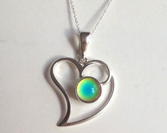Sterling Silver 925 Mood Necklace Heart Love color changing