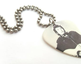 Bob Dylan Guitar Pick Necklace with Stainless Steel Ball Chain - with accoustic guitar and harmonica - folk music - 1960s