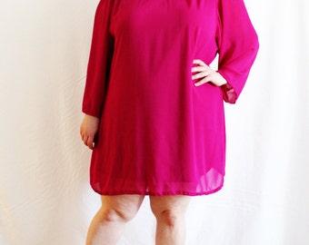 Plus Size - Vintage Fuchsia Chiffon Mini Trapeze Dress (Size 22W)