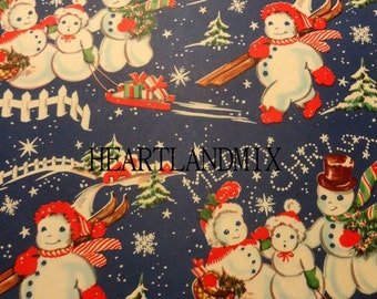 Vintage Christmas Wrapping Paper Digital Image Snowmen family Download Printable