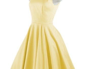 CHLOE Yellow Rockabilly Swing Rock 'n Roll Dress//Full Circle Yellow Dress//Retro 50s Style Dress//Bridesmaid, Party Dress XXS-3X