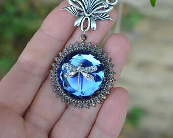 Art Nouveau necklace, blue dragonfly necklace, royal blue crystal necklace, art nouveau jewelry, blue jewel camphor glass jewelry