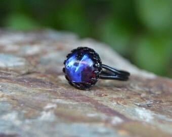 Dragons breath opal ring, gothic jewelry, mystical ring