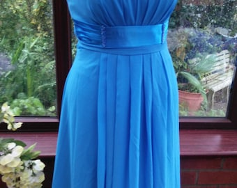 lovely long lined chiffon and satin grecian style dress shaped boned corset top prom party evening dress all lined uk size8 usa size6