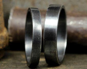 Wedding Ring Set Oxidized, Blackened Flat Pipe Cut 925 Solid Sterling Silver Matching His & Hers Thick Black Wedding Bands - FREE Engraving