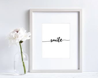 Smile Print, Instant download, Smile poster, Smile poster printable