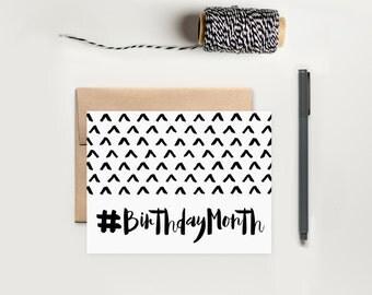 Birthday Card; Birthday Month Greeting Card; Funny Birthday Card; Modern Birthday Card
