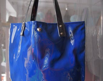 Mana Neon Cornflower Shopper Bag/ Neon Beach Foil Bag /Black Foil Handbag/ Fashion Bag/ Foil Tote Bag/ Beach Shopper