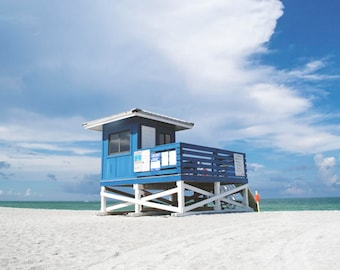 ocean landscape - venice beach florida lifeguard guard shack beach photography