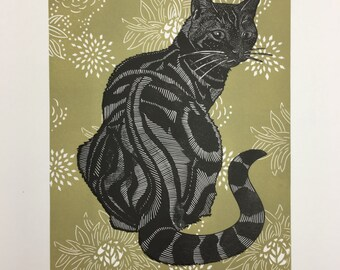 Limited edition Linocut of sitting cat