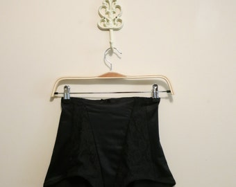 Panties high waisted panty girdle black lace pinup vintage lingerie 1960s S
