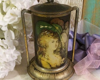 Beautiful Shabby Rare English Tea Tin, Antique Tin Box, Romantic Décor, Gainsborough Pretty Lady, 1907, Edwardian Era, Vintage Tin, PATINA