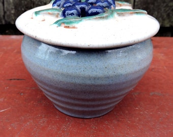 Rowantrees Jelly Pot Maine Studio Pottery 1960's mid Century Modern Blueberry Jam Pot