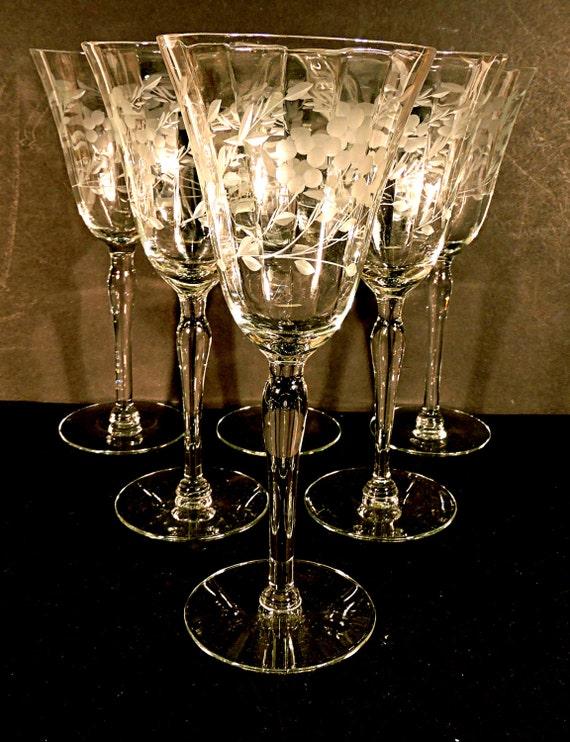 wine glasses long stem wine glass set of 6 tall cut glass. Black Bedroom Furniture Sets. Home Design Ideas