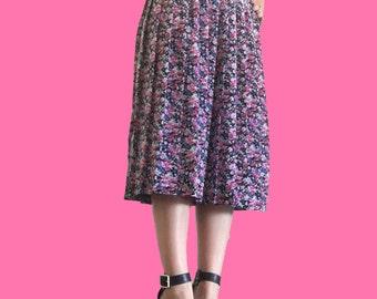 Floral Skirt/ Mid Calf Length Skirt/ Modest Skirt/ Flower Skirt/ Pink Floral Skirt/ Pleated Skirt/ Pleated Floral Skirt/ Black Floral Skirt