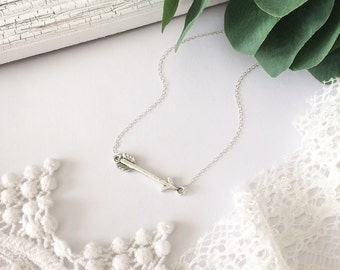 Silver Arrow Necklace, arrow necklace, dainty jewelry, vintage necklace, rustic arrow, christian necklace,sterling silver,follow your dreams