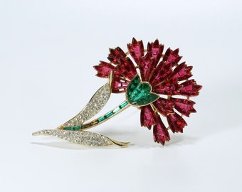 Alfred Philippe Pin, Alfred Philippe Carnation, Crown Trifari Brooch,  Vintage Crown Trifari Alfred Philippe Pave Carnation Flower Pin