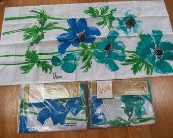 Vintage VERA Neumann Burlington Twin Sheet Set~Blue/Teal ANEMONES Floral NEW