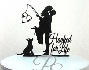 "Personalized Wedding Cake Topper - Hooked on Love 3 with personalized Initials, Dog and ""Hooked for Life"""