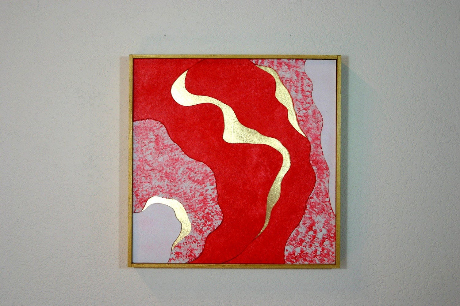 Bright Red Painting Wall Art Modern Abstract Gold Artwork