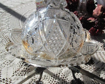 EAPG Domed Butter Dish Cut Glass McKee Aztec Sunburst Clear Domed Cheese Dish Dome top Butter Dish Antique Cheese dish Higbee Glass Co