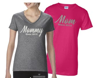 MOMMY Shirt. MOM Shirt. Mommy Vneck Shirt. Mom Vneck Shirt. Mommy to Be Shirt. Mom to Be Shirt. New Mom Mother's Day Shirt Mother's Day Gift