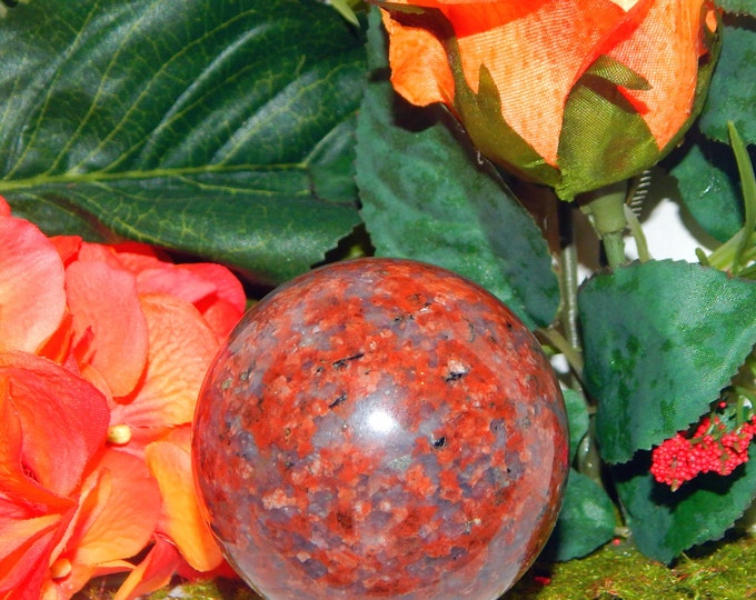 STUNNING Red 'Cherry Blossom' Jade sphere 2.3 inch with stand - Reiki Wicca Pagan Energy-work Tool