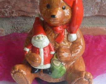 Schmid Musical Bear - Santa, Green Bag Toys, Hat  - Vintage - Fabulous!