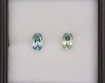 FLASH SALE Excellent Blue Green Sapphire Gemstone Match Pair from Montana 1.10 tcw.