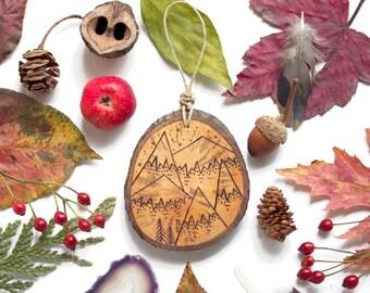 "Personalized Mountain Wood Slice Ornament - MEDIUM 2.75"", 5-Mountain - Natural Wood-Burned Ornament, Customized Wood Ornament, Wood Keepsake"