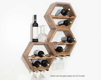 Honeycomb Wine Rack - MidCentury Modern Decor - Hexagon Wine Racks - Modular Wine Storage - Wine Lovers - Unique Kitchen Wall Art - Set of 3