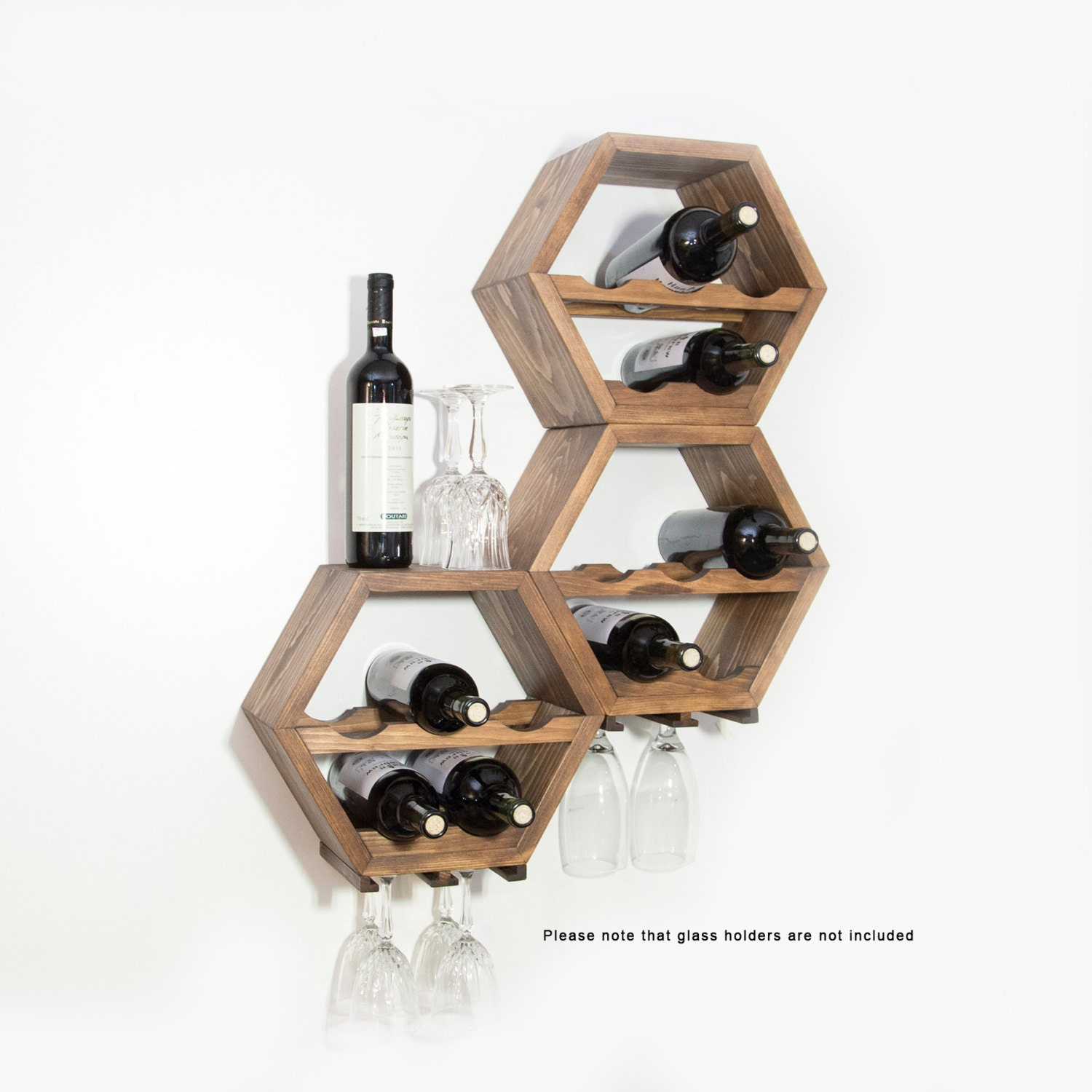 Honeycomb Wine Rack Midcentury Modern Decor Hexagon Wine