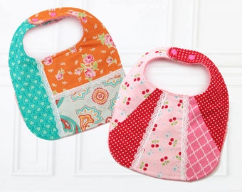 Baby Bib Pattern, Baby Bib Patterns, Baby Sewing Pattern, Bib Sewing Pattern, Baby Sewing Pattern,  PDF Sewing pattern, PATCHWORK BIBS