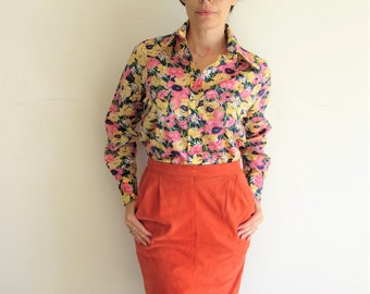 Vintage Pretty Pink Yellow Navy Daisy Flower Spring Blouse