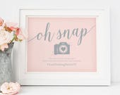 Printable Hashtag Wedding Sign // Oh Snap Sign, Pink Wedding Signs // Pink and Gray Wedding, Instant Download