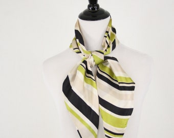 1970s Lime Striped Oblong Acetate Scarf Tapered Ends Head Scarf