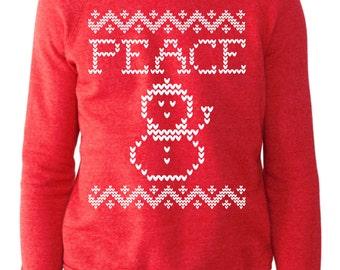 Peace Snowman Eco-Red Alternative Apparel Christmas Sweatshirt