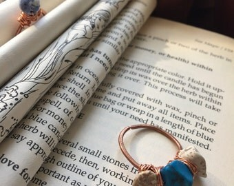Howlite and hammered copper ring.