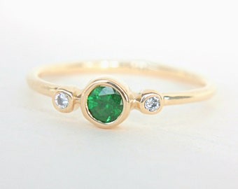 Tsavorite and Diamond Ring 14k Yellow Gold Tsavorite Engagement Diamond Gold Ring Made in Your Size Green Garnet Alternative Engagement Ring